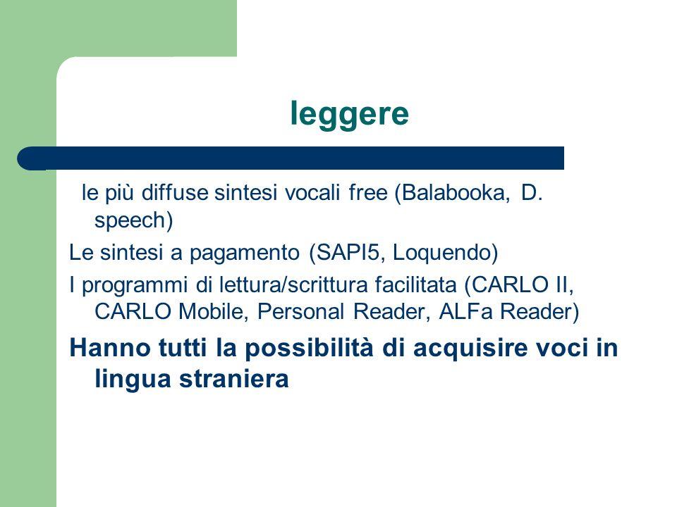 leggere le più diffuse sintesi vocali free (Balabooka, D. speech) Le sintesi a pagamento (SAPI5, Loquendo)