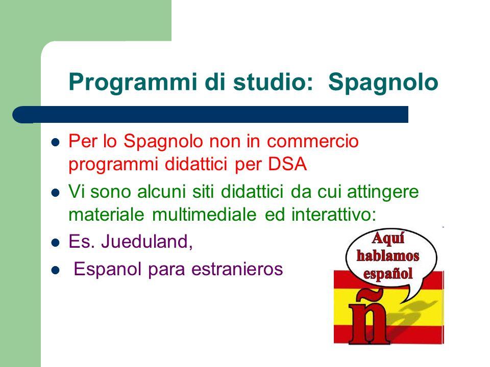 Programmi di studio: Spagnolo