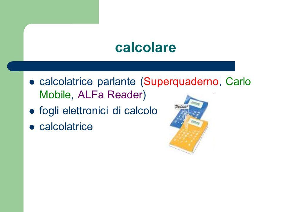 calcolarecalcolatrice parlante (Superquaderno, Carlo Mobile, ALFa Reader) fogli elettronici di calcolo.