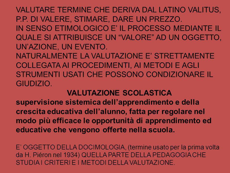 VALUTAZIONE SCOLASTICA