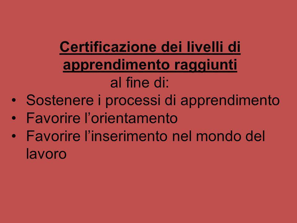 Certificazione dei livelli di apprendimento raggiunti