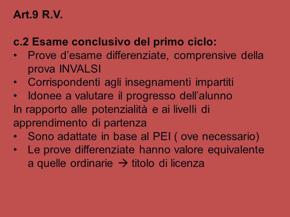 Art.9 R.V. c.2 Esame conclusivo del primo ciclo: Prove d'esame differenziate, comprensive della prova INVALSI.