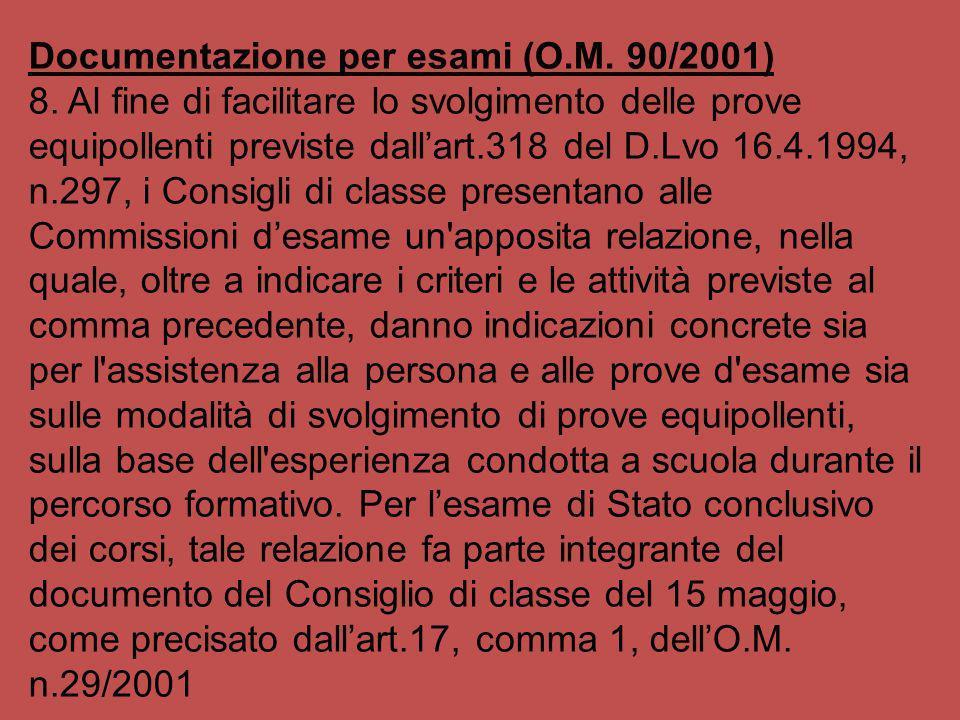 Documentazione per esami (O.M. 90/2001)