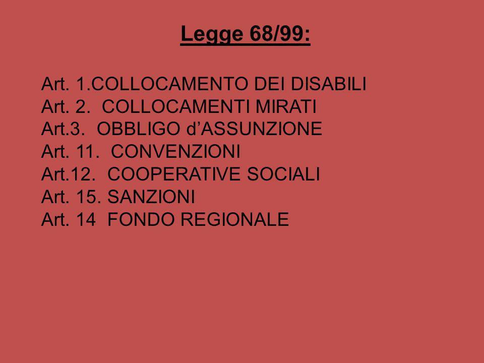Legge 68/99: Art. 1.COLLOCAMENTO DEI DISABILI