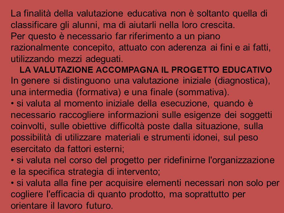 LA VALUTAZIONE ACCOMPAGNA IL PROGETTO EDUCATIVO