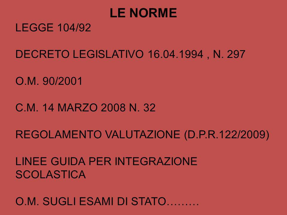 LE NORME LEGGE 104/92 DECRETO LEGISLATIVO 16.04.1994 , N. 297