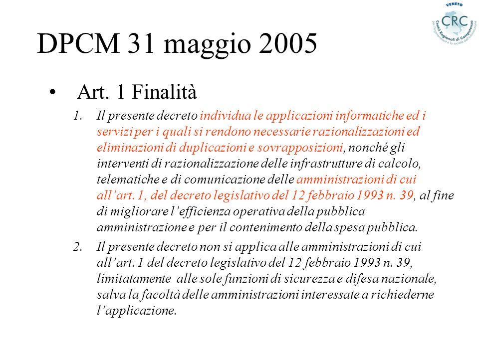 DPCM 31 maggio 2005 Art. 1 Finalità