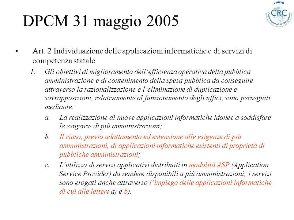 DPCM 31 maggio 2005 Art. 2 Individuazione delle applicazioni informatiche e di servizi di competenza statale.