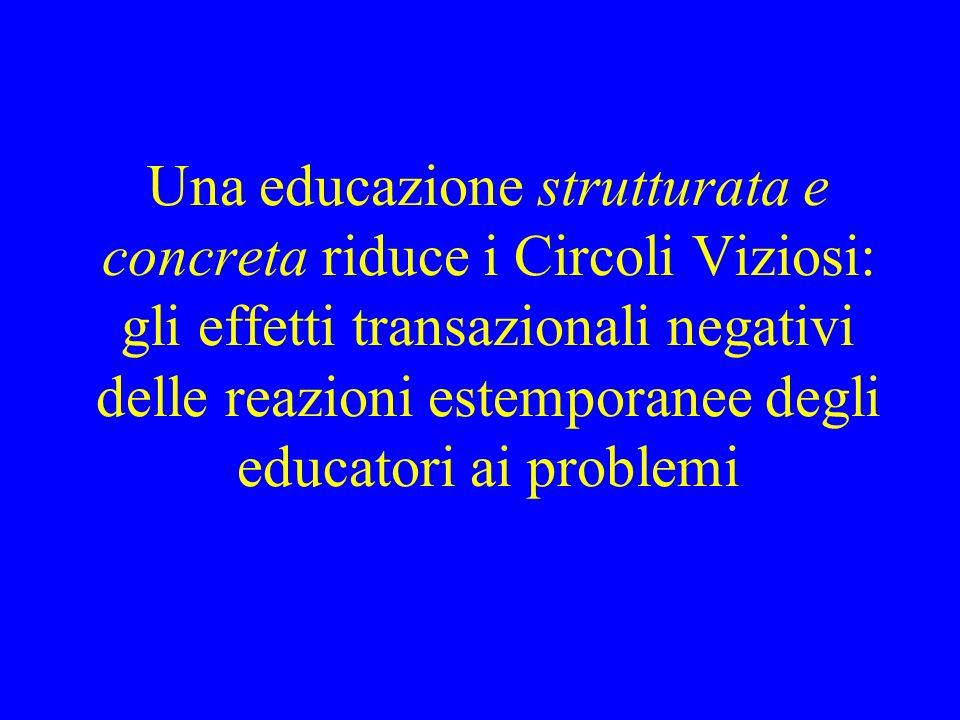 Una educazione strutturata e concreta riduce i Circoli Viziosi: gli effetti transazionali negativi delle reazioni estemporanee degli educatori ai problemi