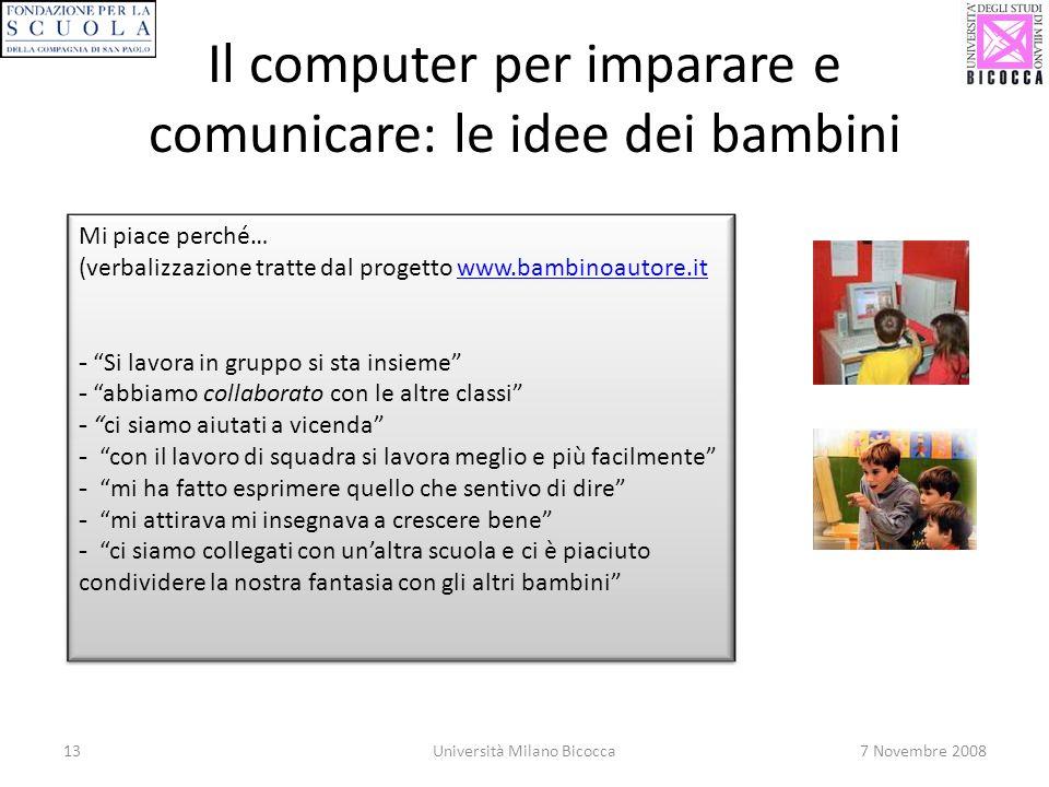 Il computer per imparare e comunicare: le idee dei bambini