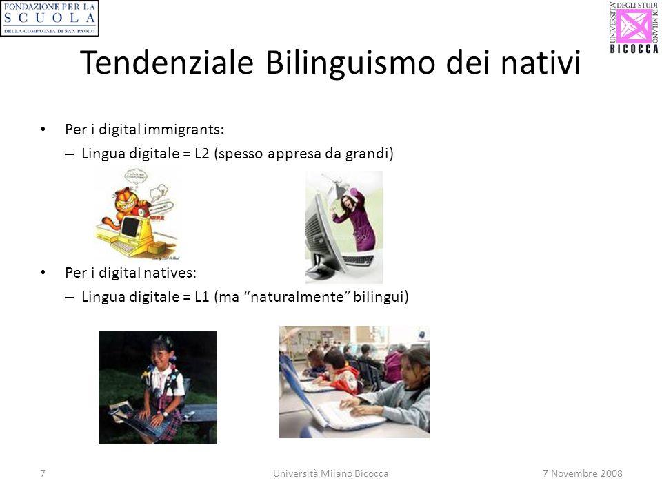 Tendenziale Bilinguismo dei nativi