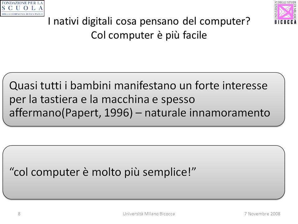 I nativi digitali cosa pensano del computer Col computer è più facile