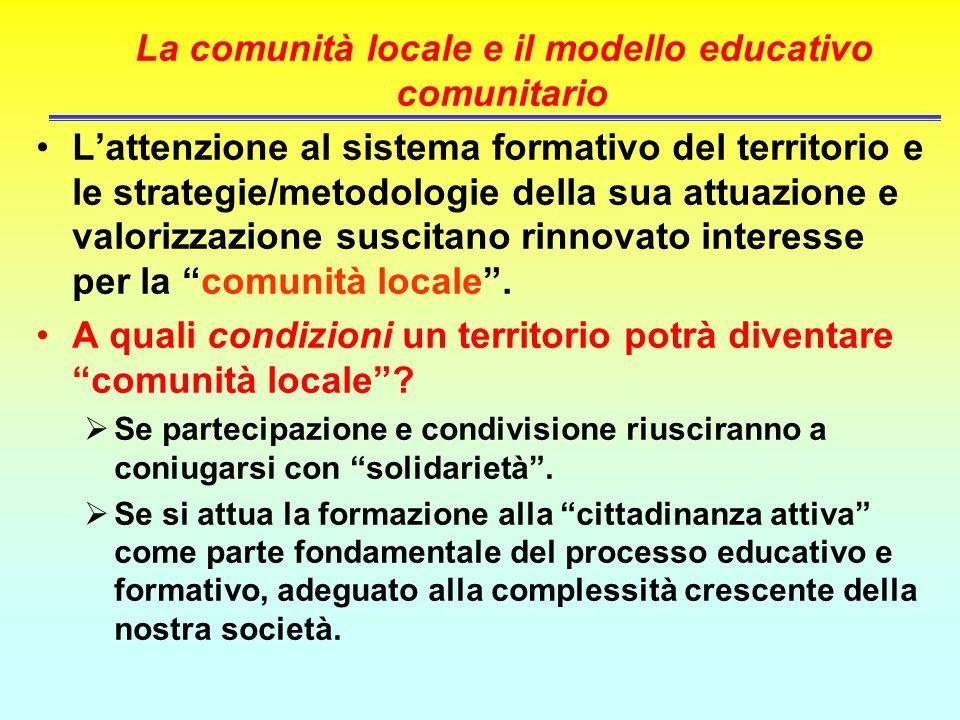 La comunità locale e il modello educativo comunitario