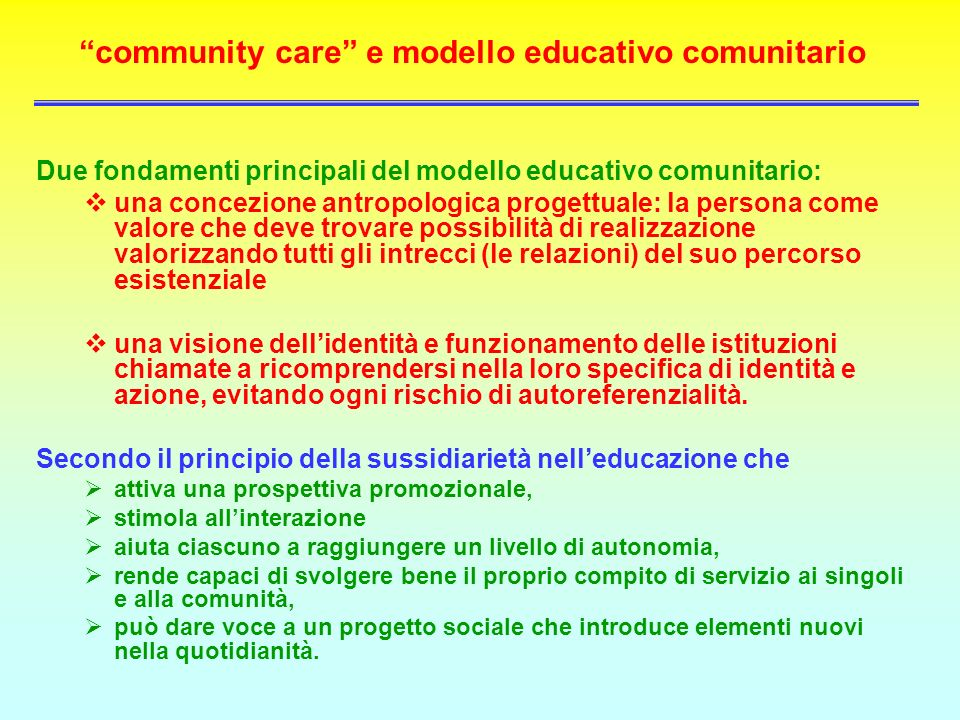 community care e modello educativo comunitario