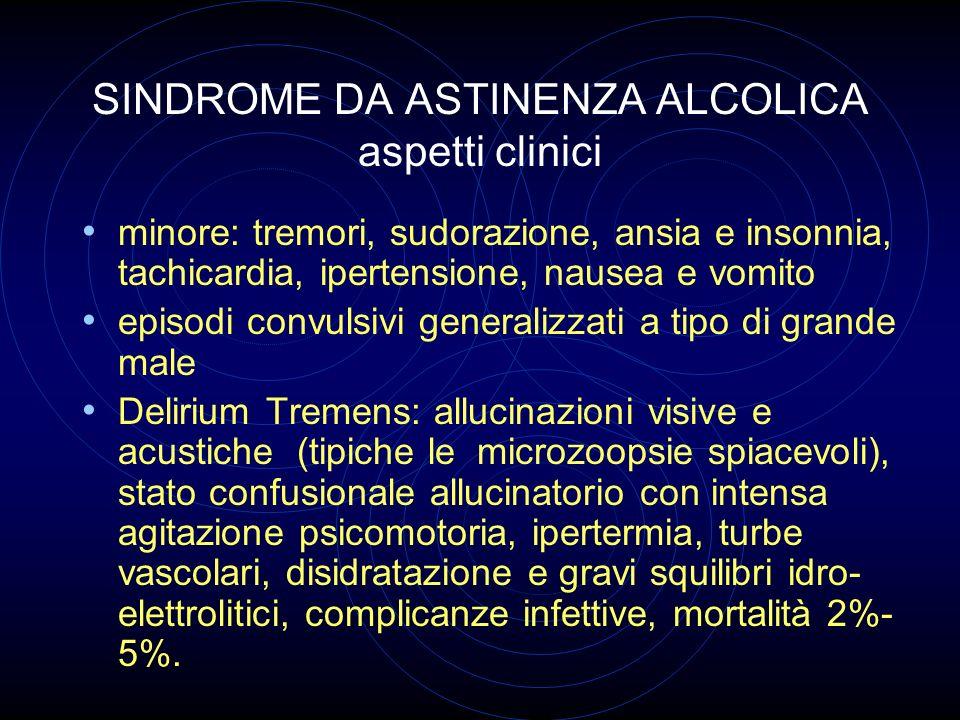 SINDROME DA ASTINENZA ALCOLICA aspetti clinici