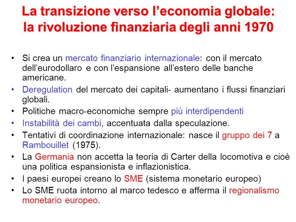 La transizione verso l'economia globale: la rivoluzione finanziaria degli anni 1970