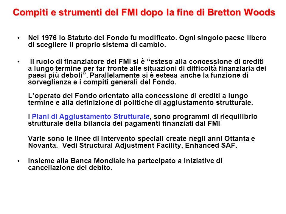 Compiti e strumenti del FMI dopo la fine di Bretton Woods