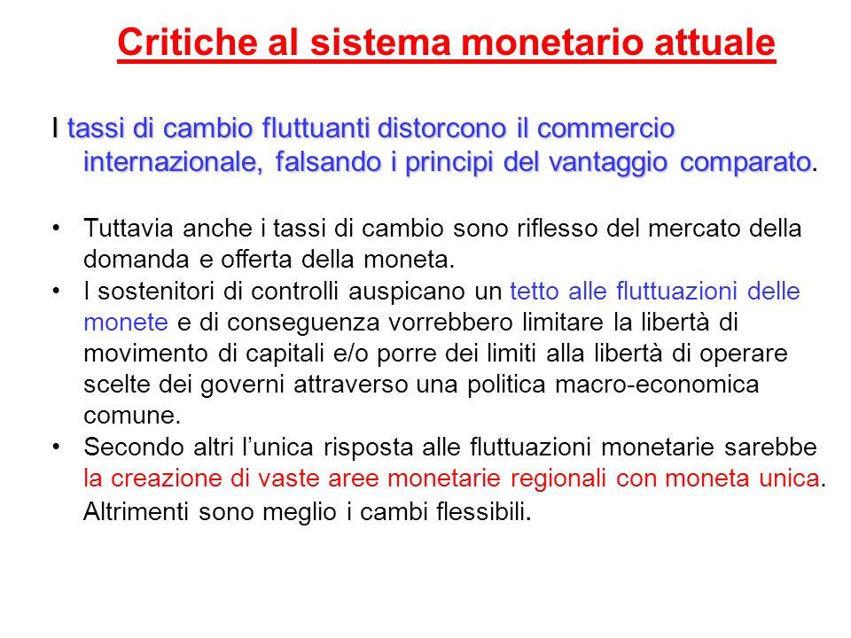 Critiche al sistema monetario attuale