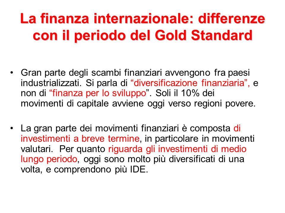 La finanza internazionale: differenze con il periodo del Gold Standard