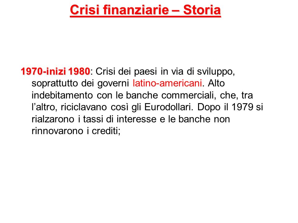 Crisi finanziarie – Storia