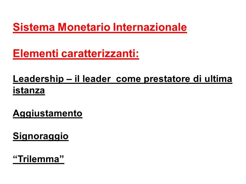 Sistema Monetario Internazionale Elementi caratterizzanti: