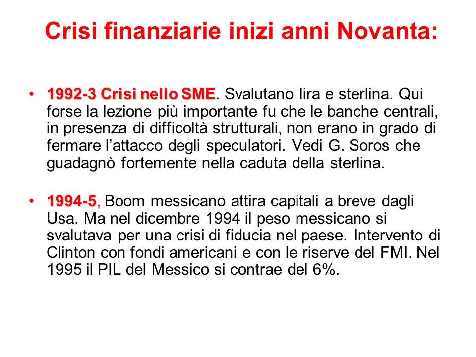 Crisi finanziarie inizi anni Novanta: