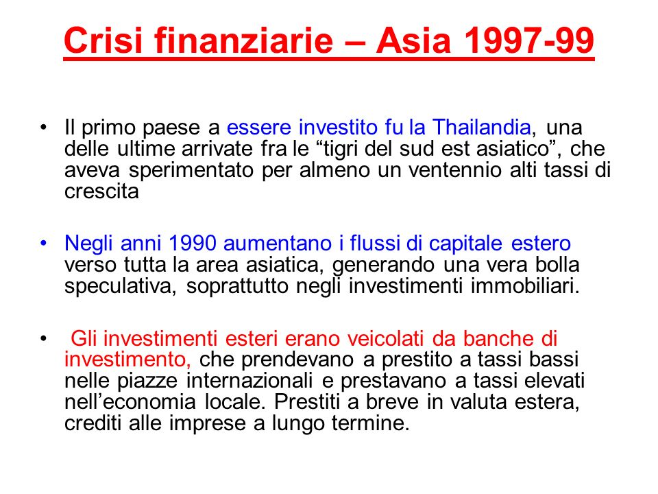 Crisi finanziarie – Asia 1997-99