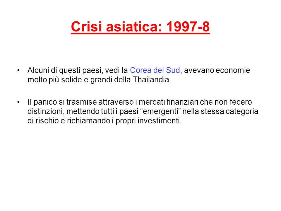 Crisi asiatica: 1997-8 Alcuni di questi paesi, vedi la Corea del Sud, avevano economie molto più solide e grandi della Thailandia.