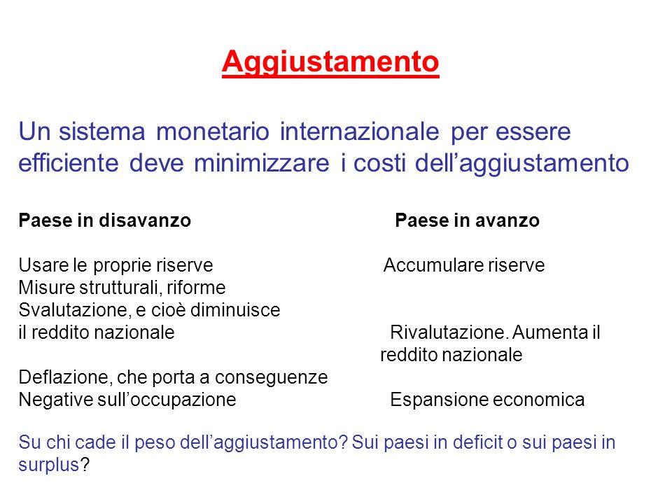Aggiustamento Un sistema monetario internazionale per essere efficiente deve minimizzare i costi dell'aggiustamento.