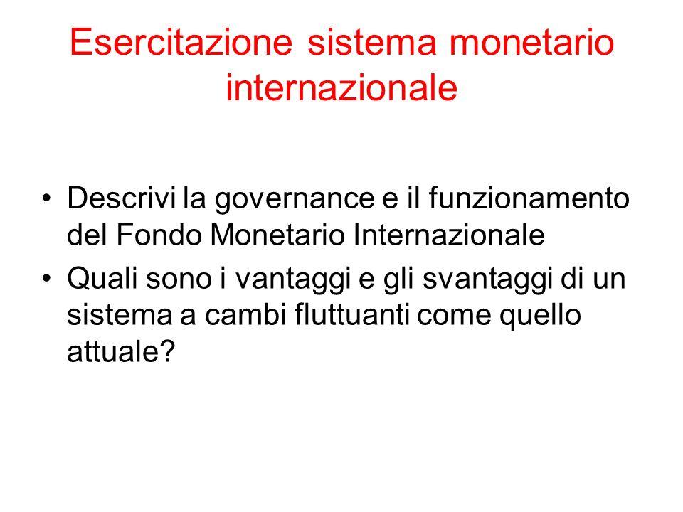 Esercitazione sistema monetario internazionale