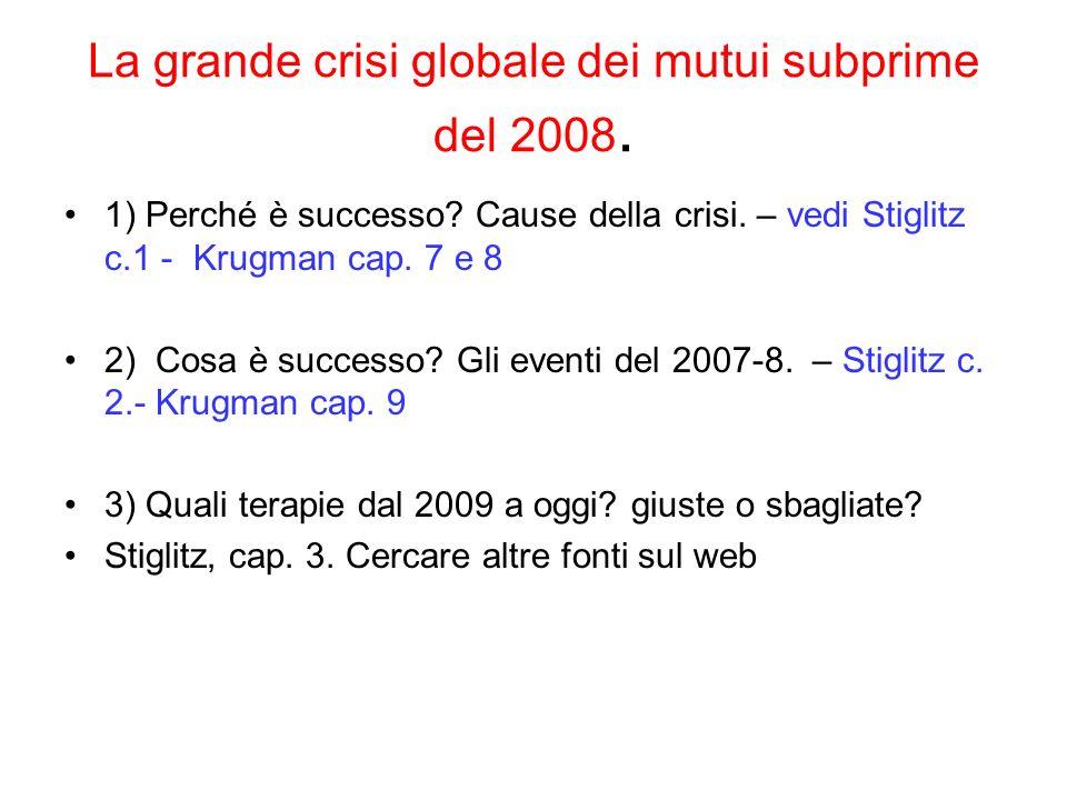 La grande crisi globale dei mutui subprime del 2008.
