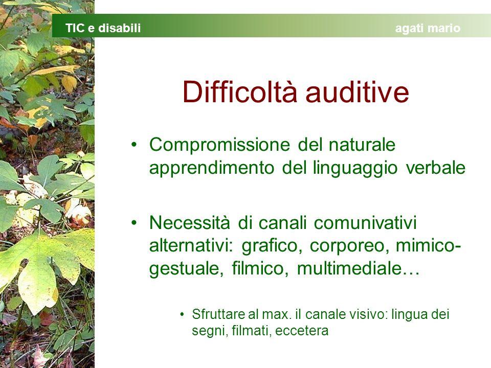 Difficoltà auditive Compromissione del naturale apprendimento del linguaggio verbale.