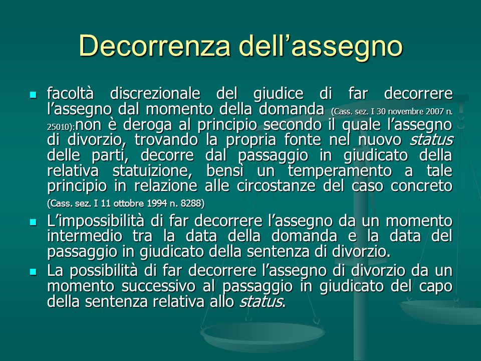 Decorrenza dell'assegno