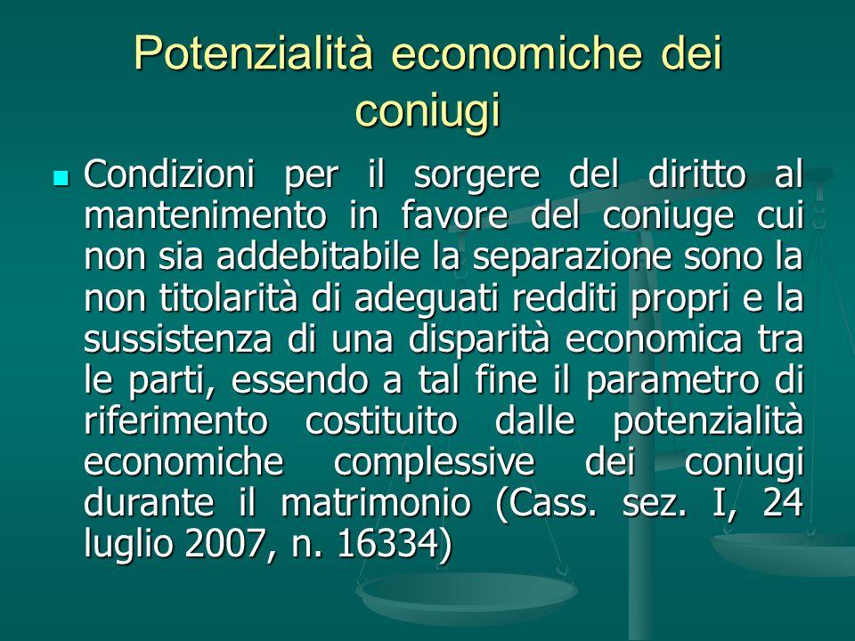 Potenzialità economiche dei coniugi