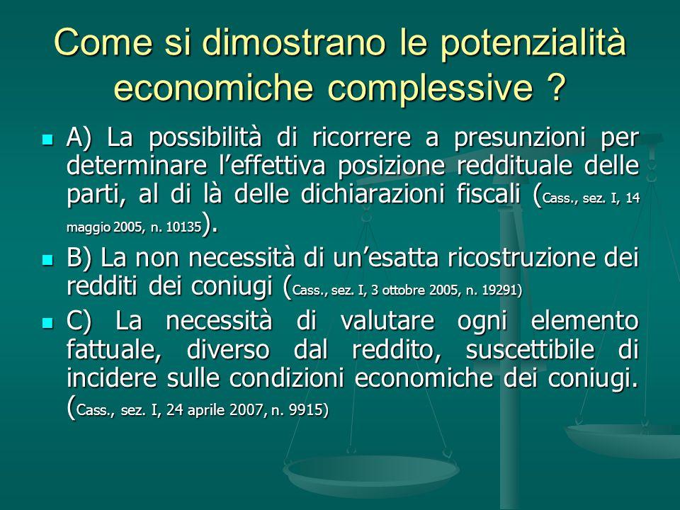 Come si dimostrano le potenzialità economiche complessive