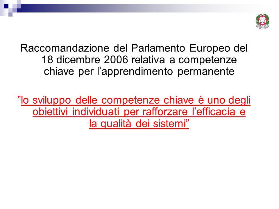 Raccomandazione del Parlamento Europeo del 18 dicembre 2006 relativa a competenze chiave per l'apprendimento permanente