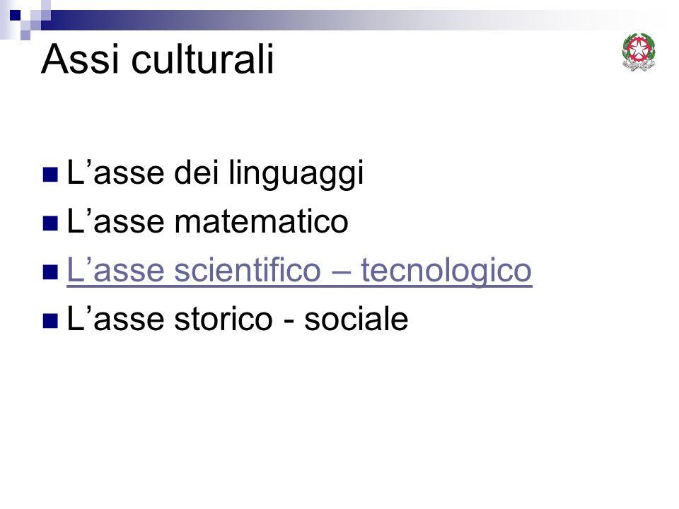 Assi culturali L'asse dei linguaggi L'asse matematico
