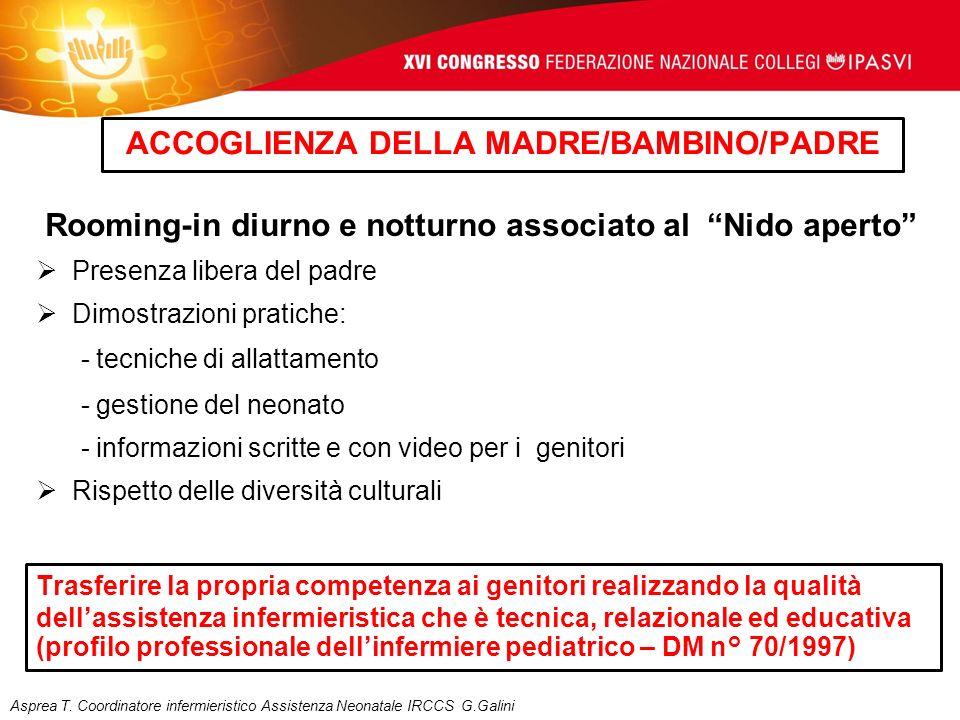 ACCOGLIENZA DELLA MADRE/BAMBINO/PADRE