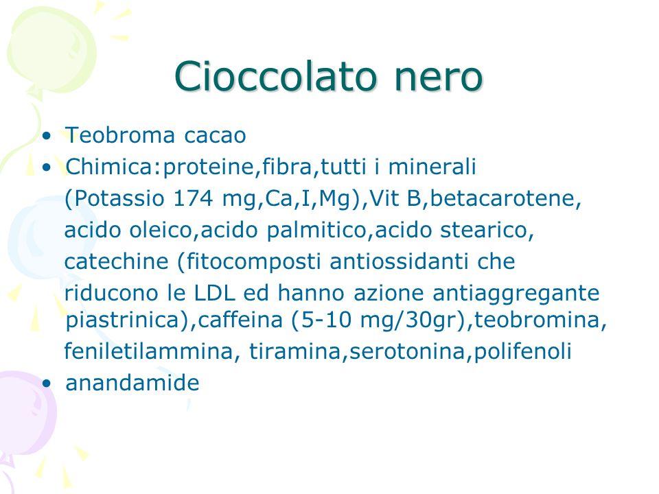 Cioccolato nero Teobroma cacao Chimica:proteine,fibra,tutti i minerali