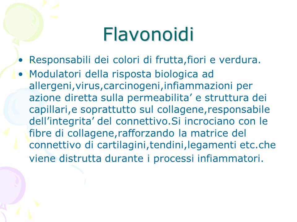 Flavonoidi Responsabili dei colori di frutta,fiori e verdura.