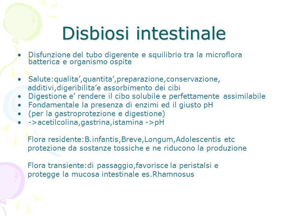Disbiosi intestinale Disfunzione del tubo digerente e squilibrio tra la microflora batterica e organismo ospite.