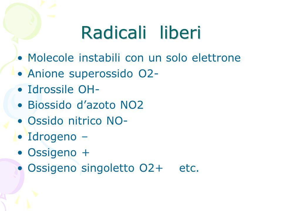 Radicali liberi Molecole instabili con un solo elettrone