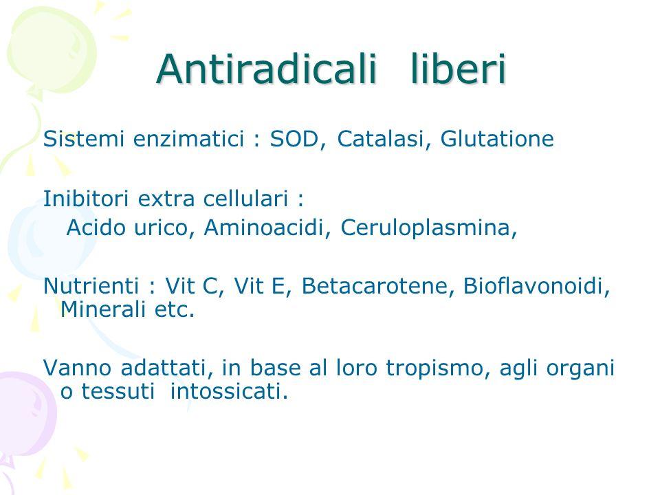 Antiradicali liberi Sistemi enzimatici : SOD, Catalasi, Glutatione