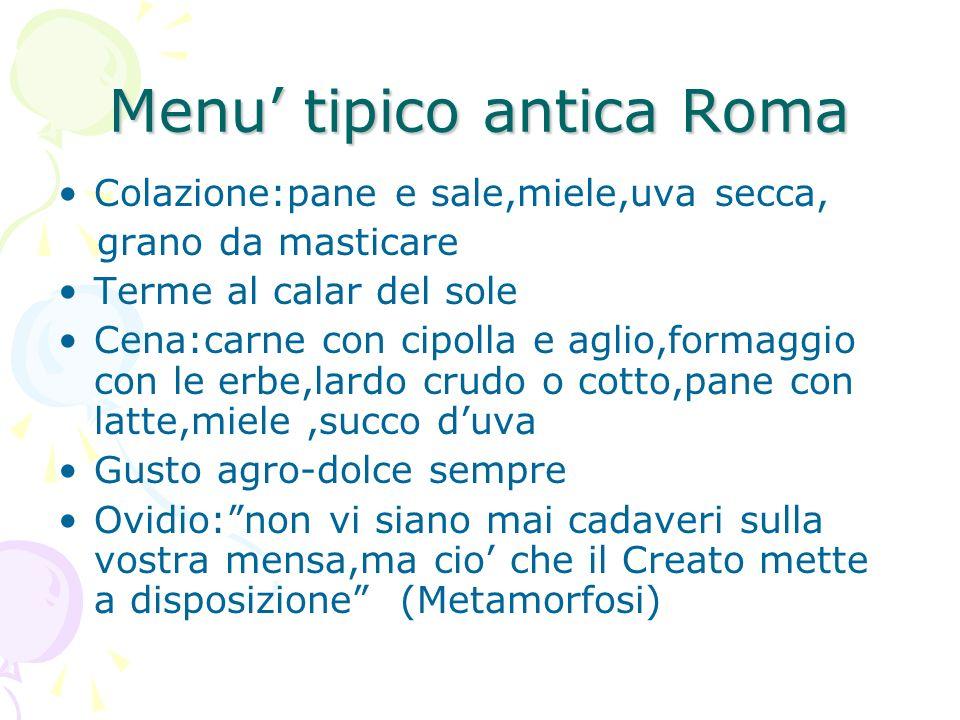 Menu' tipico antica Roma