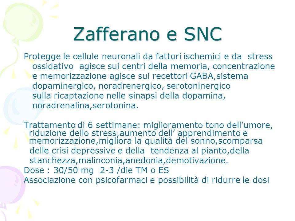 Zafferano e SNC Protegge le cellule neuronali da fattori ischemici e da stress. ossidativo agisce sui centri della memoria, concentrazione.