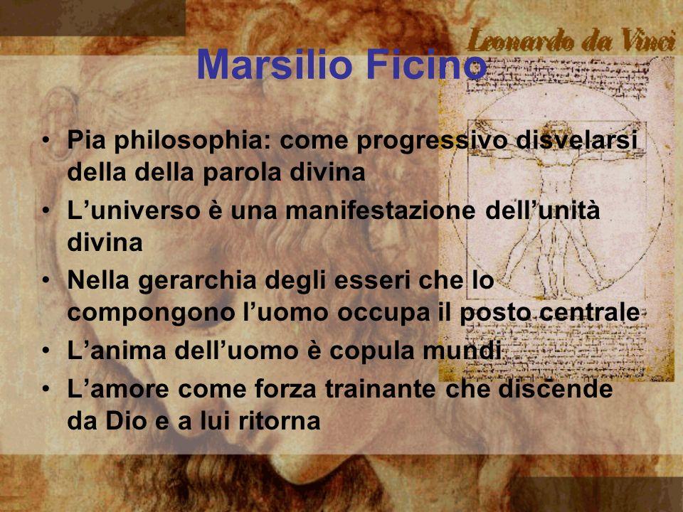 Marsilio Ficino Pia philosophia: come progressivo disvelarsi della della parola divina. L'universo è una manifestazione dell'unità divina.