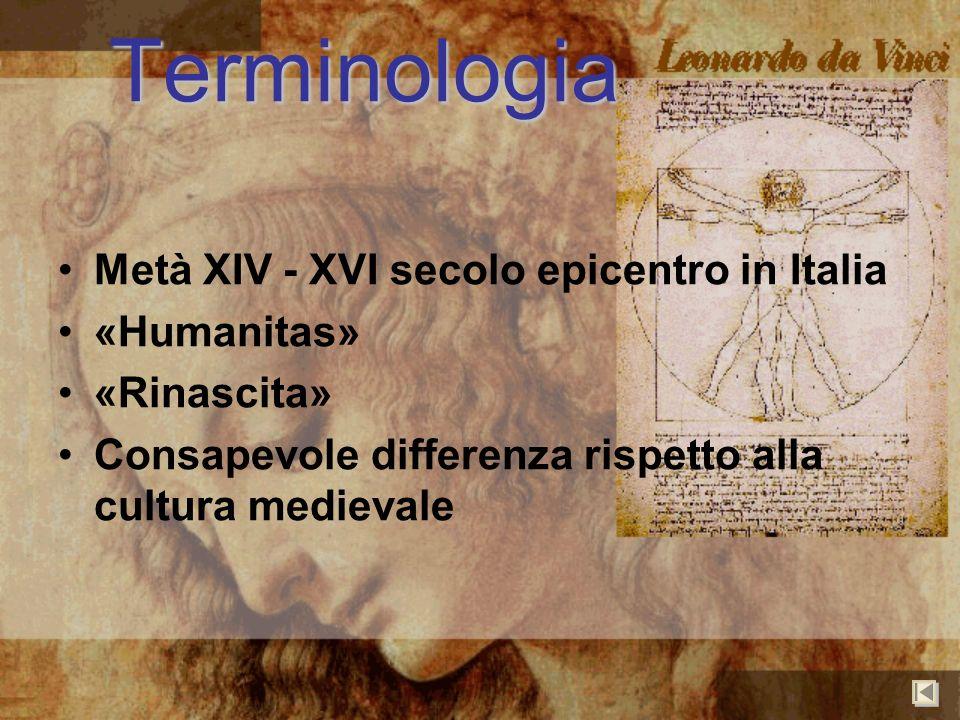 Terminologia Metà XIV - XVI secolo epicentro in Italia «Humanitas»