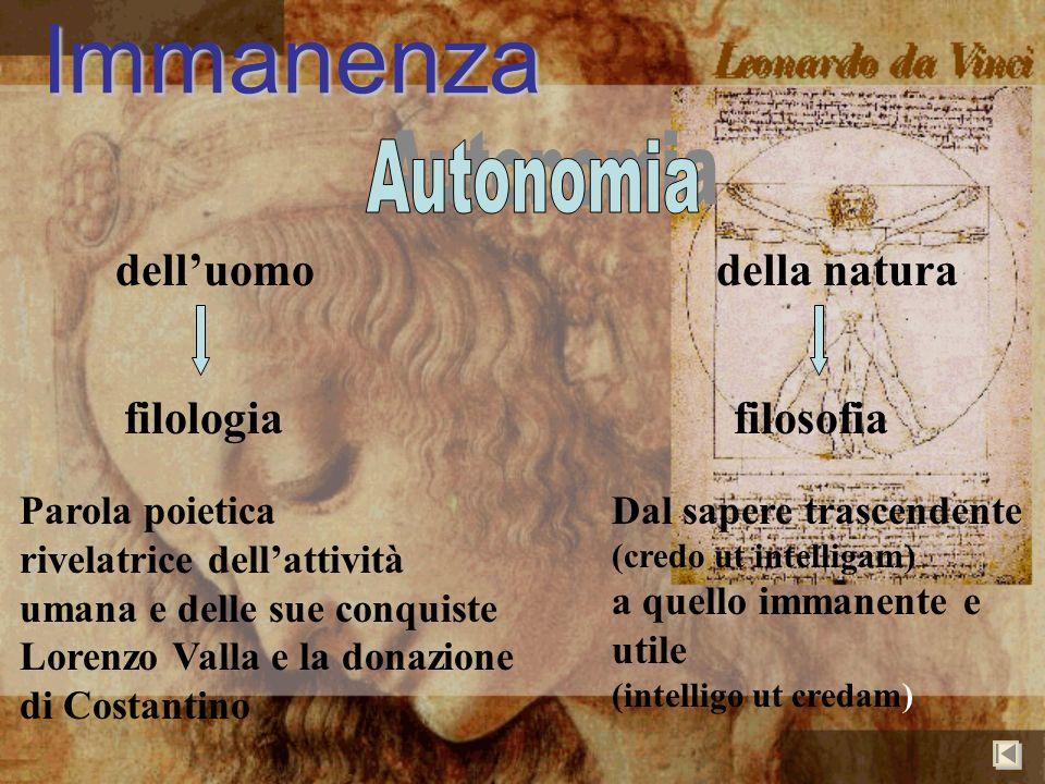 Immanenza Autonomia dell'uomo della natura filologia filosofia