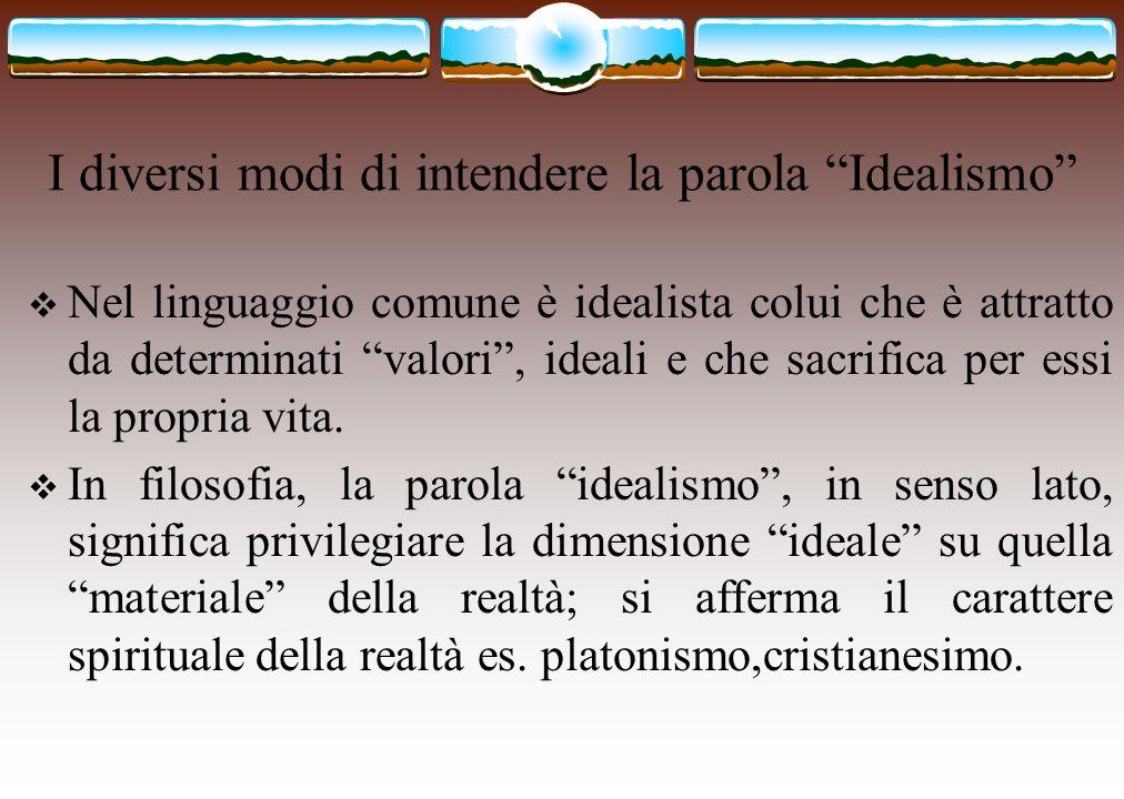 I diversi modi di intendere la parola Idealismo