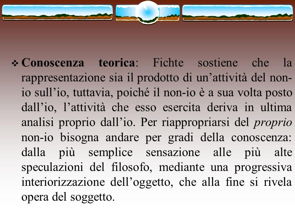 Conoscenza teorica: Fichte sostiene che la rappresentazione sia il prodotto di un'attività del non-io sull'io, tuttavia, poiché il non-io è a sua volta posto dall'io, l'attività che esso esercita deriva in ultima analisi proprio dall'io.